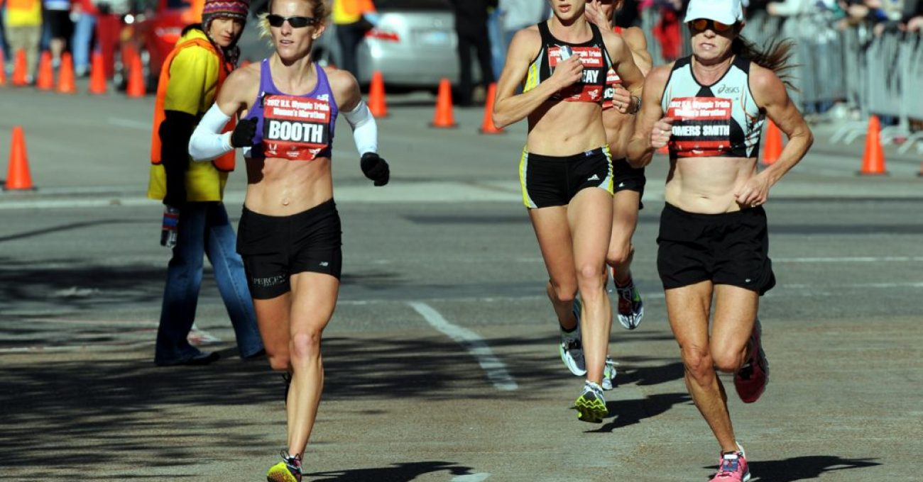 U.S. Army World Class Athlete Program Capt. Kelly Calway (center) of Fort Carson, Colo., runs to a 25th-place finish in the 2012 U.S. Olympic Women's Marathon Team Trials with a personal-best time of 2 hours, 37 minutes, 10 seconds on Jan. 14 in Houston. Calway is flanked by Rachel Booth (left) of Mandeville, La., and Linda Somers Smith (right) of Arroyo Grande, Calif.. U.S. Army photo by Tim Hipps, IMCOM Public Affairs